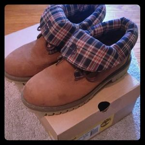 Timberland Juniors 7 Norse Flannel Roll Top boots